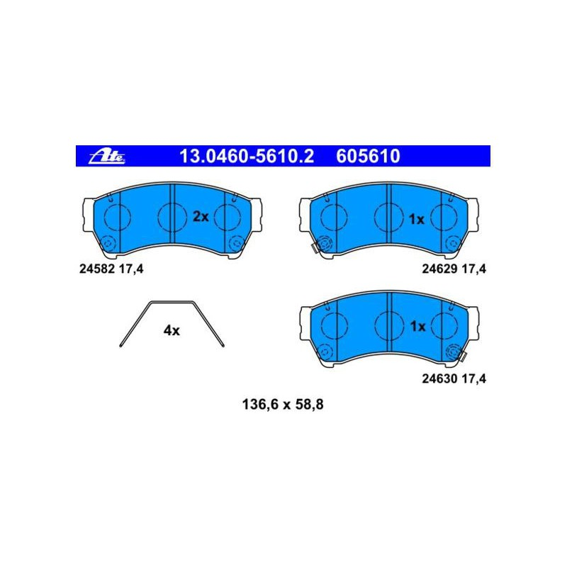 Тормозные колодки ATE передние для Mazda 6 (2007 - 2012)